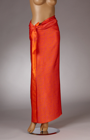Seiden-Sarong Leuchtend-Orange/Magenta